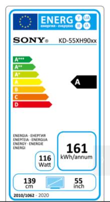 Sony 55 XH90 energy label