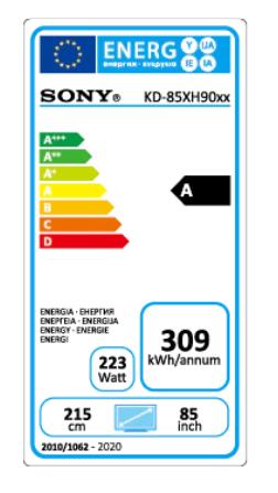 Sony 85 XH90 energy label